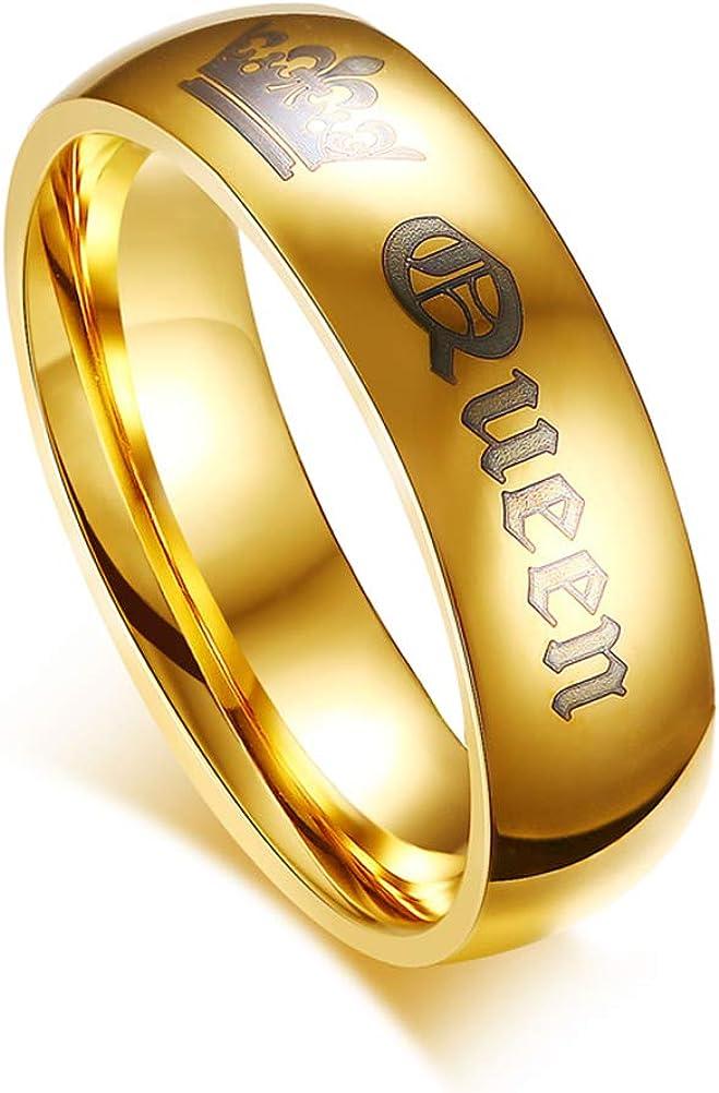 OIDEA Paar Ringe His Queen Her King Krone Eheringe EdelstahlRinge Gold f/ür Damen Herren mit Geschenkbox