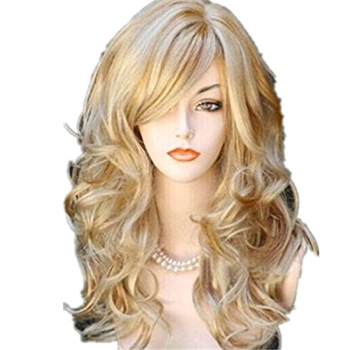 BestOpps 65cm Sexy Golden Blond Long Big Wave Mix Full Volume Curly Wavy Wig W/Long Bang Women's Girl Hot Full Hair Wig s Cosplay Costume Party Anime Wigs with Free Wig Cap and Wig Comb ()