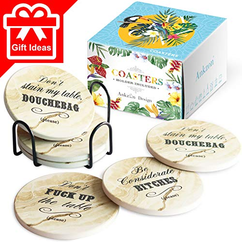 Funny Gift Ideas Coasters for Drinks Absorbent with Holder   Housewarming Gifts Idea Set of 6   Novelty Present   Unique Presents for Friends, Birthday, Wedding Registry, Living Room Decor, Man Cave