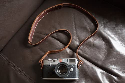 Handmade Genuine Real Leather Camera Strap Neck Strap for Film Camera Evil Camera Brown 01-103