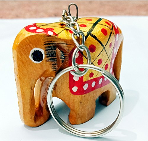 Hand Painted Wooden Elephant Keychain 12 ()