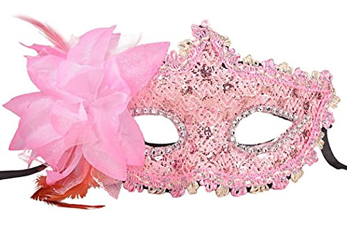 [Yansanido Sexy Charm Pink Lace Mask with Rhinestone Liles Venetian Women's Party Masquerade Eye mask Party Ball Masquerade Fancy Dress for Halloween Night(Pink] (Best Halloween Costumes For Moms)