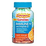 Emergen-C Immune+ Gummies (45 Count, Super Orange Flavor) Immune System Support with 500mg Vitamin C Dietary Supplement, Caffeine Free, Gluten Free For Sale