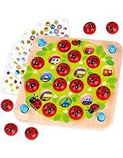 Nene Toys - Memory Spel met Lieveheersbeestjes – Houten Geheugen Spel voor Kinderen 3, 4, 5 Jaar - 10 Patronen - Educatief Speelgoed Stimuleert de Ontwikkeling van Geheugen en Cognitieve Vaardigheden