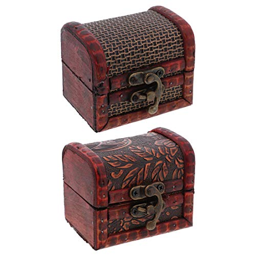 SandT Collection 3 Inch Wooden Chest Keepsake Treasure Box for Trinkets - Set of 2 (Basket & Nature)