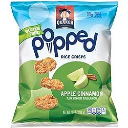 Quaker Popped Rice Crisp Snacks, Gluten Free, Apple Cinnamon, 7.04oz Bags (Pack of 6 Bags)