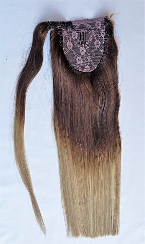 18inches Ombre Balayage 100% Human Hair, Wrap Around Ponytail Highlighted Hair Extensions # T2-18/613