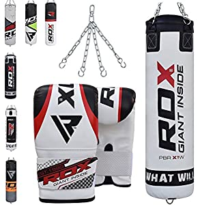 RDX Punching Bag Filled Set Kick Boxing Heavy MMA Training with Gloves Punch Mitts Hanging Chain Ceiling Hook Muay Thai Martial Arts 4FT, 5FT