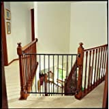 KidCo Safeway Gate, Top of Stairs Gate, Black with Stairway Installation Kit