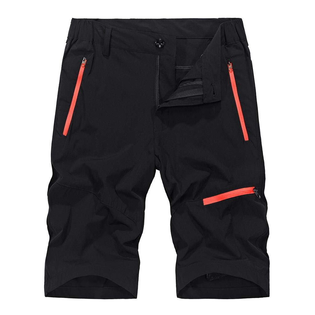 Mens Shorts Casual Stretch Waist Outdoor Fluorescent Pocket Loose Sports Shorts