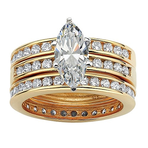 Marquise-Cut White Cubic Zirconia 18k Gold over .925 Sterling Silver 3-Piece Bridal Ring Set ()