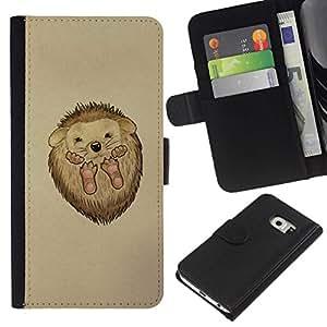 // PHONE CASE GIFT // Moda Estuche Funda de Cuero Billetera Tarjeta de crédito dinero bolsa Cubierta de proteccion Caso Samsung Galaxy S6 EDGE / Cute Hedgehog Baby /