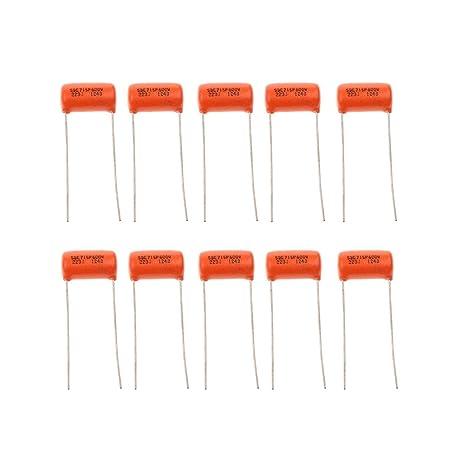 MagiDeal 10 Piezas Condensadores 0.022uf 223j 600V para Guitarra Eléctrica de Color Naranja
