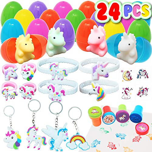 24 Pieces Unicorn Prefilled Easter Eggs, Easter Basket Stuffers for Easter Egg Hunt Event, Party Favor Bags, Goodie Bag Filler