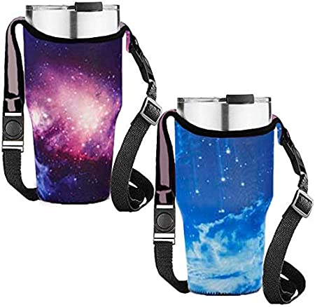 Rtic Neoprene Sleeve with Carrying Handle Rambler 30 oz Insulated Tumbler Coffee Cup Atlin Ozark Trail Tumbler 30oz Carrier Holder Pouch /& Shoulder Strap for YETI