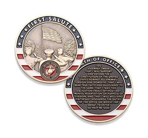 Marine Corps First Salute Challenge Coin - USMC Challenge Coin - Amazing US Marine Corps Military Coin - Designed by Marines for Marines! ()