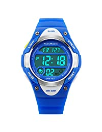 BesWLZ Sports Kids LED Digital Alarm Stopwatch Waterproof Wristwatch Children's Dress Watches Blue