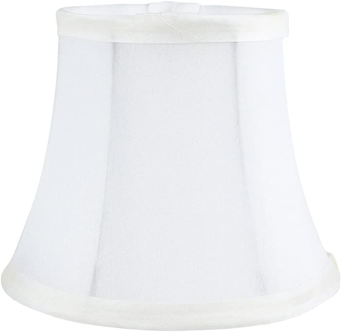 4-inch by 6-inch by 5-inch Meriville Set of 5 Off White Faux Silk Clip On Chandelier Lamp Shades