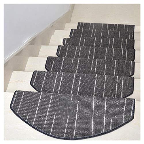 Stair Treads Arc Stream Line Stripe Stair Mat Self-Adhesive Skid-Resistant Mute Solid Color Pollution Free Soft Durable Simple Staircase Carpet (25.6 X 9.4 X 1.2 in),Gray,5pieces