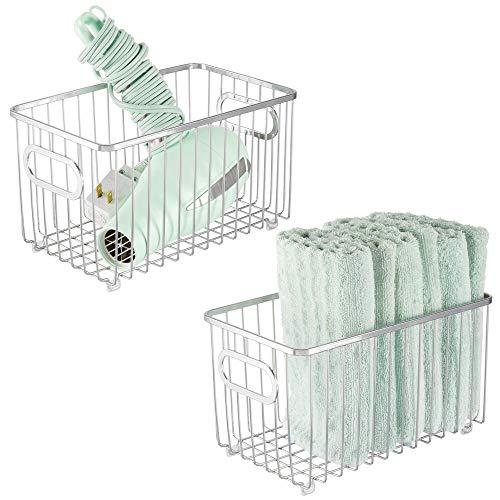 mDesign Metal Bathroom Storage Organizer Basket Bin - Modern Wire Grid Design - for Organization in Cabinets, Shelves, Closets, Vanity Countertops, Bedrooms, Under Sinks, 2 Pack - Chrome