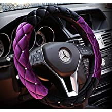 "Black and Purple Winter Short Plush Car Steering Wheel Cover Crystal Rhinestone Auto Fur Steering-Wheel Covers Cases Universal Size 15"""