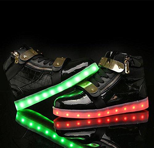 Shoes Women Light Charging Black Up Flashing Shoes LED Metal Sneakers Men USB Velcro High AnnabelZ Top x8pwq