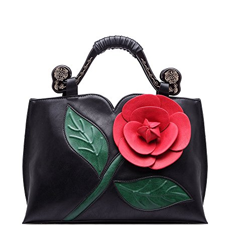 Women Handbag Clutch Purses Shoulder Bag Large Flower PU Leather with Wooden Handle Bags Black By Celsino (Flower Backpack Purse)