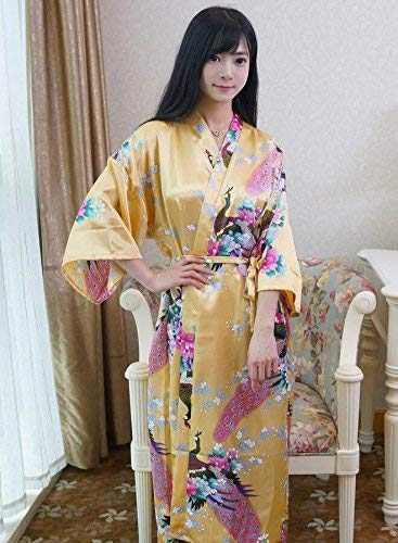 GZZ Home Hotel Bathrobe Robe Imitation Silk Long Section Ladies Nightgown...