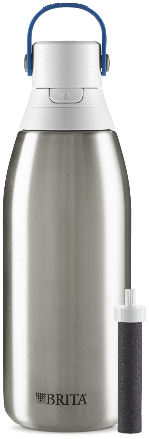 Brita Stainless Steel Water Filter Bottle, Stainless Steel, 32 Ounce, 1 Count