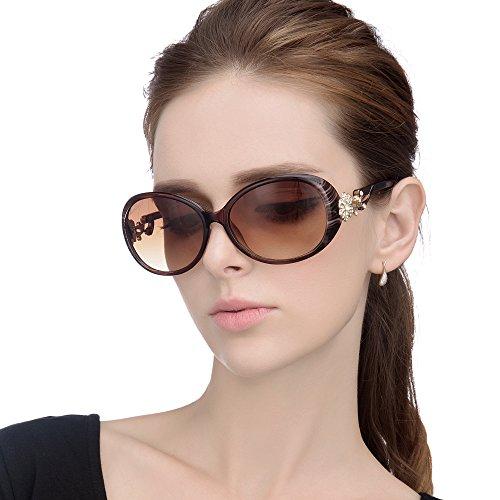 LianSan Fashion Oversized Women Uv400 Protection Polarized Lady Sunglasses Gold Flower Full Frame Sunglasses Gd103 (Brown (Sunglasses Flower)