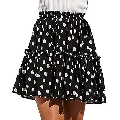 TWGONE A-Line Skirt High Waist Women Casual Polka Dot Print Ruffles Pleated Lace Up Short Skirt