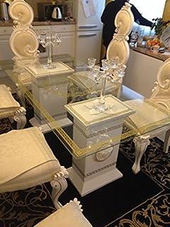 Elegant Medusa Tisch Designer Esstisch Glastisch Esstisch Mäander Barock Säulen  Wohntisch 6035 K 108 Versa