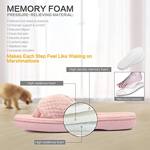 Clog Thong Flip Indoor Memory Womens CIOR Foam Cozy Style Flops Spa Slippers Velvet Pink House FANTINY Gridding Plush Lining A4v0qvaywY