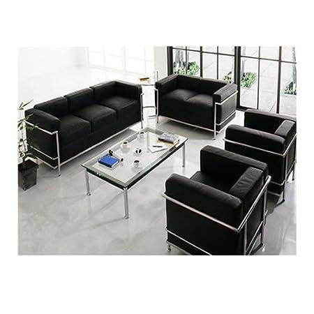 Combinazione perfetta le Corbusier LC2 divano in pelle nero ...