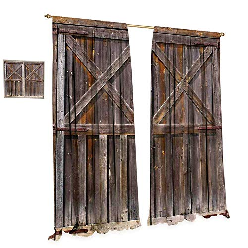 ckout Window Curtain Old Wooden Barn Door of Farmhouse Oak Countryside Village Board Rural Life Photo Print Customized Curtains W96 x L96 Brown ()