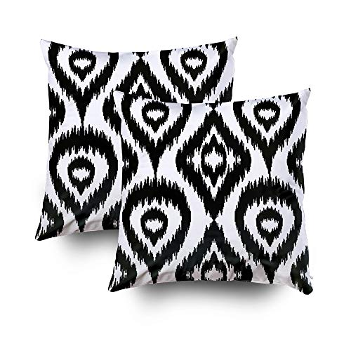 (Musesh Pillow Case for Christmas, 20X20 2Pack Ethnic Seamless Black and White Pattern Boho Textile Print Geometric Wallpaper with Abstra Throw Pillow Covers Cusion for)