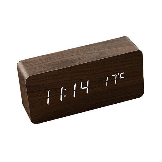 Meilandeng Reloj de Mesa de Alarma Digital de Madera LED LED ...