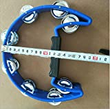 Wanrane Musical Toy Instruments Adult KTV Half Moon Tambourine Infant Toy Single-layer Rattle Party Instruments Hand Bell(Blue)