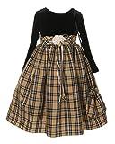 Cinderella Couture Big Girls' Velvet Plaid Dress w Sachet Bag 10 Khaki (ME250)