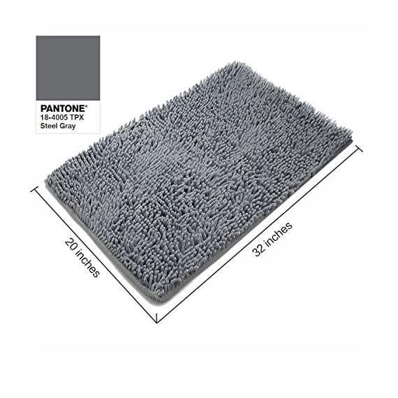 Vdomus Absorbent Microfiber Bath Mat Soft Shaggy Bathroom Mats Shower Rugs (Grey) - [Top Selling Bath Rugs from VDOMUS] - This bathroom rugs set is just what you need to protect your feet from the cold floor as well as your bathroom floor. With the available large sizes (20 x 32 inches) and 4 colors, you are sure to find one to suit your style. Perfect for bathrooms, toilet, shower, floor, kitchen. Also your pets will love it maybe. [Super Soft and Dries Quickly] The chenille fabric microfiber bathroom rug is designed to quickly absorb water, keeping your bathroom floors dry and clean. The mat's construction, with thousands of individual microfiber shags, allow the water held in the mat to dry quickly, leaving the mat smelling and feeling clean, dry. The Sturdy design will keep the mat looking the same even after you just got out of the shower. [Anti-Skid Latex Backing] Features a non-skid, keeps the bath rug in place, even when wet. The durable non-slip backing will not fade, keeping the mat in place for years. The non-slip backing provides added piece of mind when used with children/kids or elders, keeping wet feet off of slipper tile and off of a slippery bathroom rug. - bathroom-linens, bathroom, bath-mats - 51Oi9oyJWCL. SS570  -