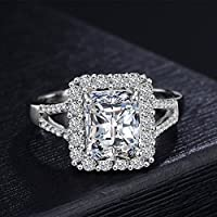 kittipong 5ct Princess Cut Engagement Cz Wedding Ring Womens 925 Silver Jewelry Size 5-10 (10)