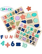 Wooden Puzzles for Toddlers, Wood Alphabet ABC Number and Shape Puzzles Preschool Early Learning Puzzle Board Toys for Kids Boys Girls Ages 3 4 5 6 Year Old (Set of 3)