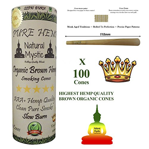 Prerolled Rolling Papers Cones Pre-Rolled - Pre Rolled Cone Raw Extract King Size 100 Pack Brown Organic Smoking Cones Preroll Filter Tips 110mm Even Burn Control Use Natural Mystic Loader Funnel