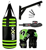 Maxx Junior punch bag set with 6oz gloves, hook or bracket, kids boxing , mma training (Bag Set -Bracket)