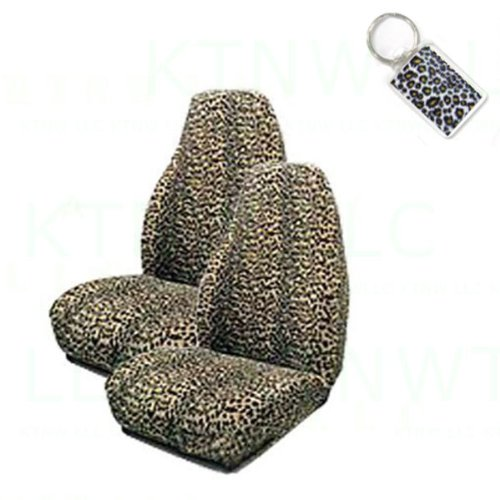 - A Set of 2 Universal Fit Animal Print High Back Bucket Seat Covers and 1 Key Fob - Cheetah Tan