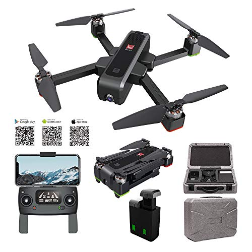 MJX Bugs 4W Foldable Drone with GPS, FULL HD 2K 5G WiFi Camera Bugs GO App Altitude Hold Track Flight 3400mAh Battery Double Charging OLED Screen Control Alarm Function(MJX B4W + 2 Battery + Foam Box)