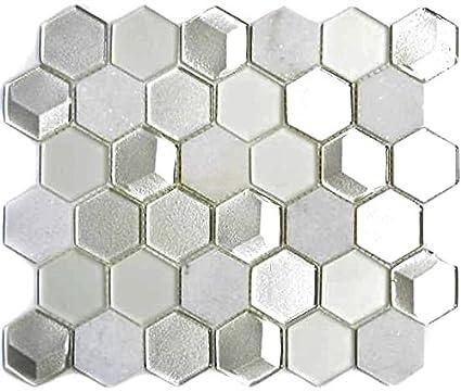49-O301F/_f 10 Matten Mosaik Fliese Aluminium Transluzent Glasmosaik rot silber