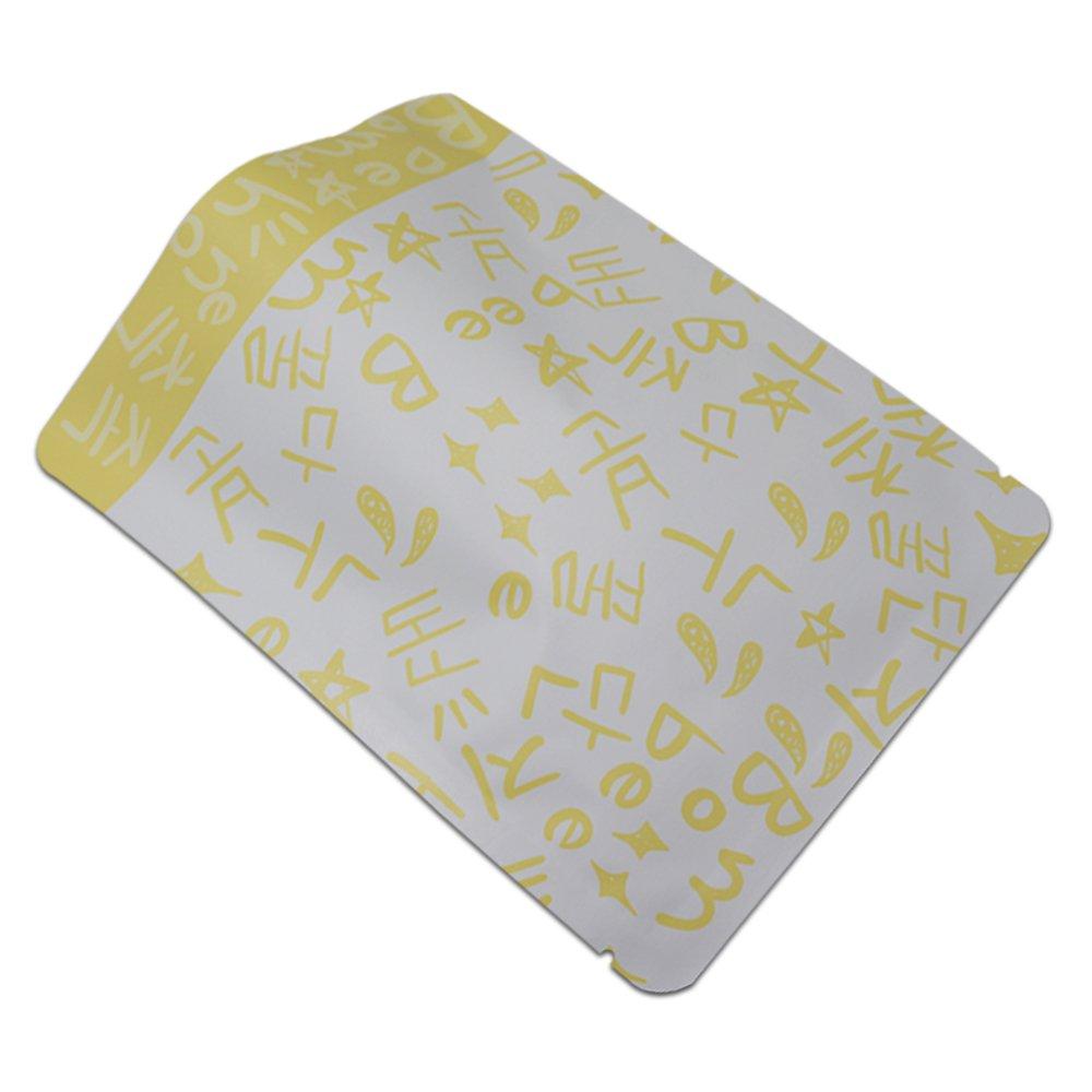 Open Top Aluminum Foil Heat Seal Vacuum Bags Retail Vacuum Mylar Foil Bag For Coffee Powder Snack Food Storage Black Gray Orange Yellow Colour 12 x 16 cm (4.7 x 6.2 inch) (Yellow, 100)