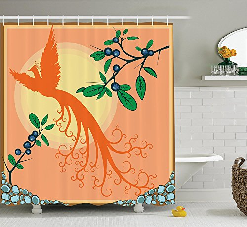 [Flying Birds Decor Collection Silhouette of Mystic Phoenix Bird Flying Over Sun Grape Leaves Magic Fearthers Artprint Polyester Fabric Bathroom Shower Curtain Set with Hooks] (Grape Vine Halloween Costume)