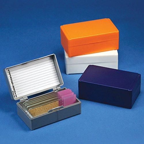 GLOBE SCIENTIFIC 513072N Slide Box for 12 Slides, CorkLined, Orange